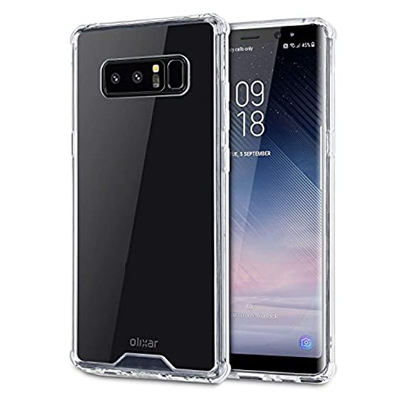 check out d73ec 0b485 Olixar Samsung Galaxy Note 8 Tough Hard Case - ExoShield Snap-on - Wireless  Charging Compatible (Clear)