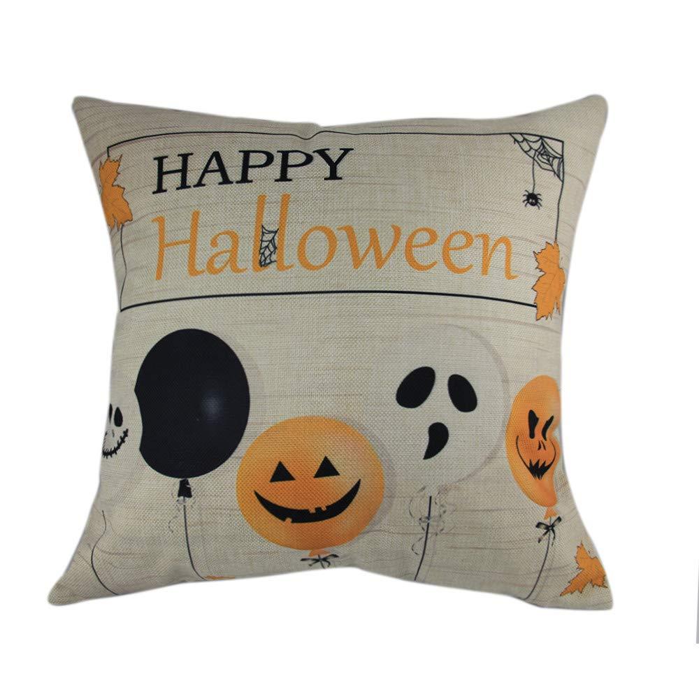 Hongxin Halloween Pillow Cases,Cotton Linen Balloon Ghosts Pattern Sofa Cushion Cover Home Decor (A, 45cm×45cm)