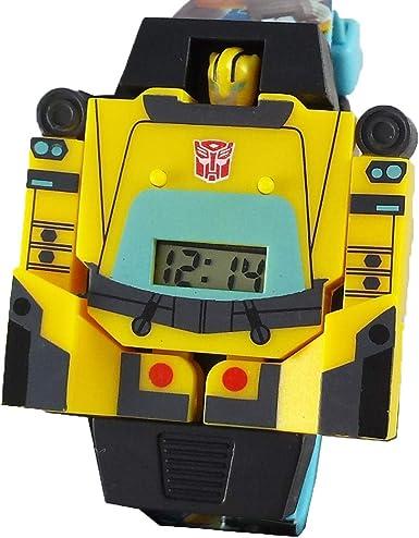 Crítico Picante Idealmente  Amazon.com: Transformer Bumblebee Reloj convierte en Robot niños muñeca  reloj: Watches