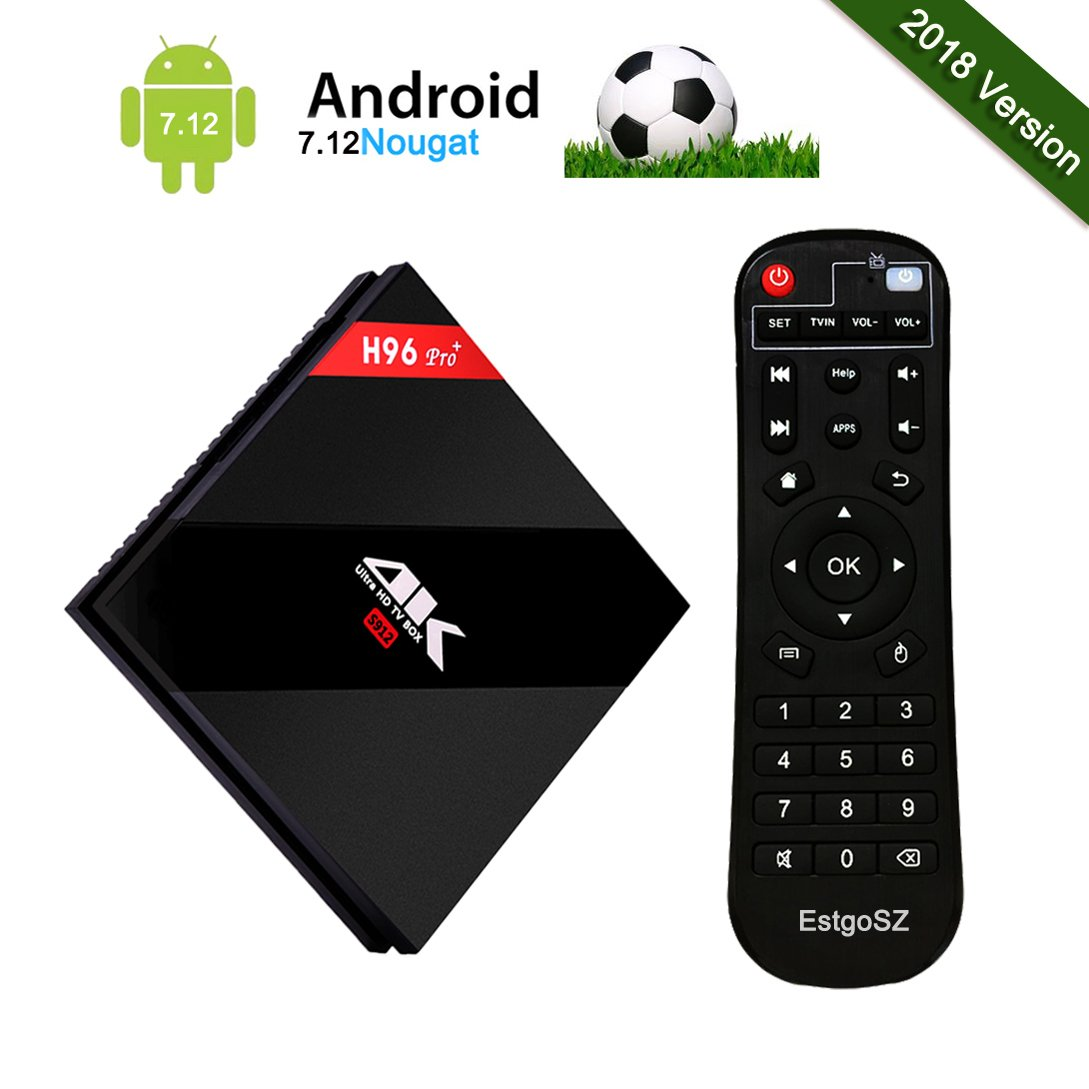 2018 Model H96 pro+ Android 7.1 Smart TV BOX 3GB RAM/32GB ROM Amlogic S912 Octa Core CPU 64Bits 4K HD Dual-band WIFI 2.4GHz/5.0GHz/Bluetooth 4.1/1000M LAN