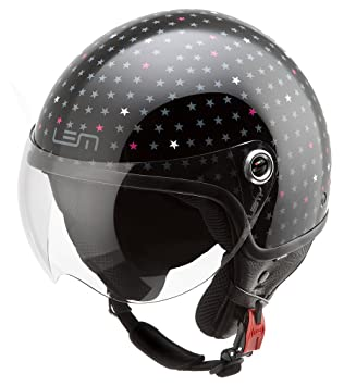 Casco Moto LEM - Roger Dusty, NEGRO BRILLO (M)