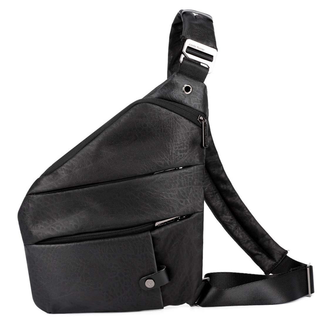 RABILTY Belt Holster Bag Leather Fanny Waist Pack Crossbody Bag for Men Boy,Inclined Shoulder Bag Color : Black