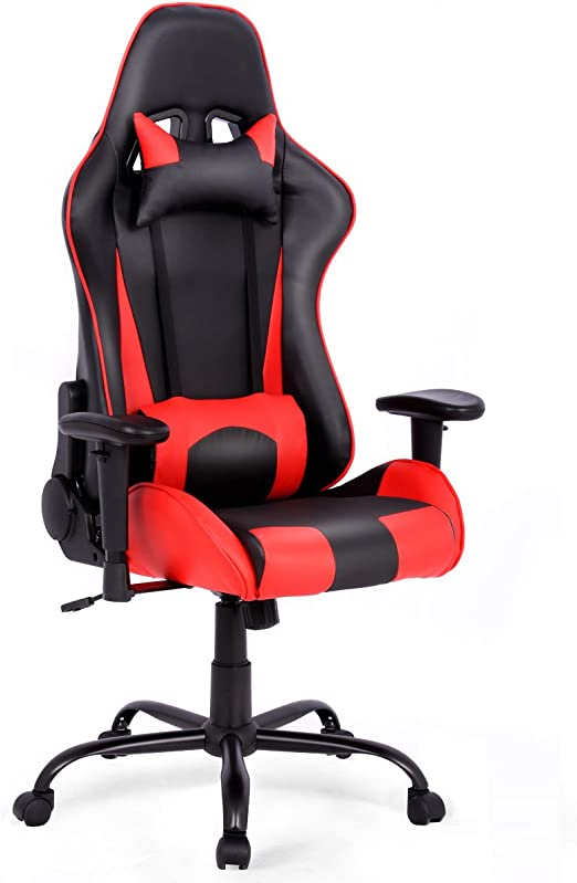Blue High Back Ergonomic Reclining Computer Office Racing Chair Pu Leather Racing Office Chair With Lumbar Support And Headrest Giantex Executive Gaming Chair Home Office Chairs Computer Gaming Chairs