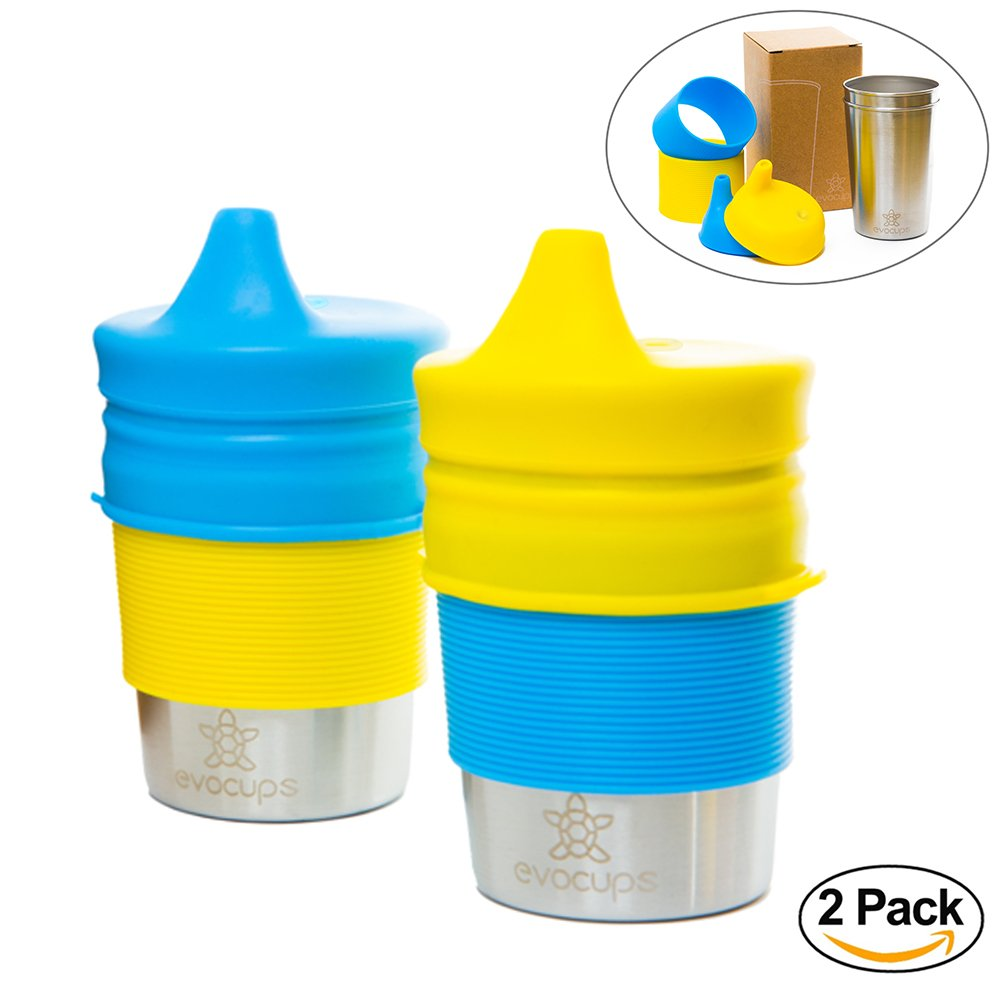 EvoCups 2 Pack Environmentally Friendly Stainless Steel Sippy Cups (300ml/10oz) for Kids with BPA-FREE & TEAR RESISTANT Silicone Lids & Sleeves by EvoCups