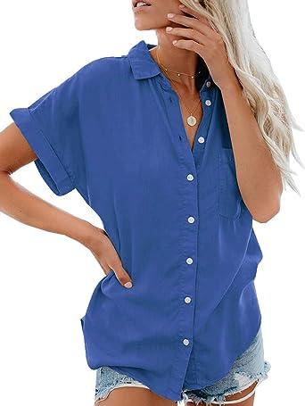 Onsoyours Mujer Blusa Elegante Camisa Suelta Cuello V Color Sólido Manga Corta Tops para Mujer Casual Verano Shirts