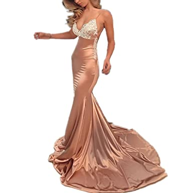 LeoGirl Womens Sexy Deep V-Neck Lace Appliques Long Mermaid Prom Dresses Open Back Formal