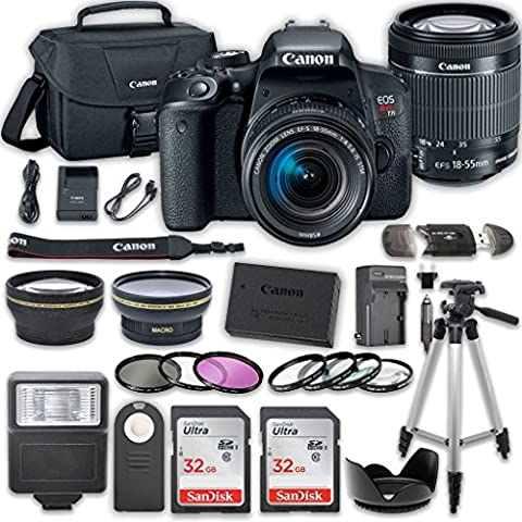 Canon EOS T7i DSLR Camera with 18-55mm IS STM Lens + 2 x 32GB Card + Accessory Kit (Auxiliary Cord To Hdmi Cord)