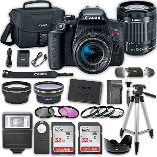 Canon EOS T7i DSLR Camera with 18-55mm IS STM Lens + 2 x 32GB Card + Accessory Kit by Canon