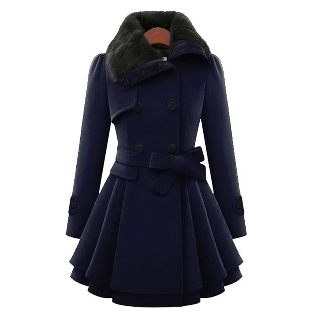 Mose New Fashion Women Plus Size Long Sleeve Winter Warm Slim Thicker Parka Long Coat Overcoat (Dark Blue, 3XL)