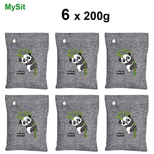 (MySit Breathe Green Charcoal Bags Air Purifying Bags, Bamboo Charcoal Bags Formaldehyde Odor Absorber Eliminators for Home (6 x 200g))
