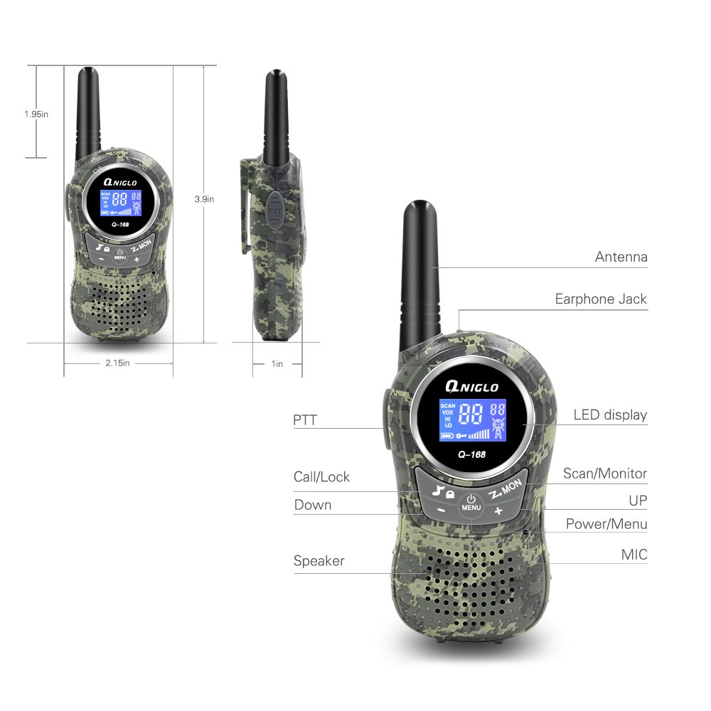 Qniglo Kids Walkie Talkies 2 Way Radio 3 Miles Long Range 22 Channels Walkie Talkies Kids Outdoor Camping Toys Gifts Boys Girls (Camouflage Green) by Qniglo (Image #2)