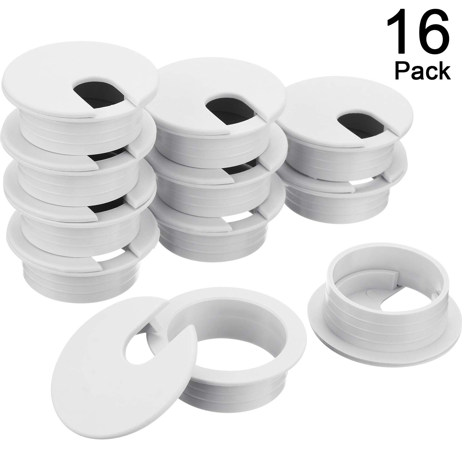 Desk Grommet, Plastic Desk Cord Cable Hole Cover Grommet for Computer Table Wire Organizer for Home and Office, 35 mm/ 1.38 Inch Mounting Hole Diameter (White, 16 Packs)