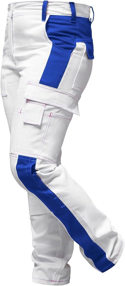 strongAnt® - Pantalones de Trabajo para Mujer Blanco 100% algodón. Pantalón de Pintor Completo con Bolsillos para Rodilleras. Cremallera YKK + botón YKK - Hecho en la UE - Blanco/Azul 84: Amazon.es: Ropa y accesorios