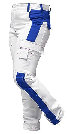 b7cb788e5a3f strongAnt Damen Arbeitshose Weiß-Blau Pink für Frauen Malerhose 100%  Baumwolle mit Kniepolstertaschen. Reißverschluss YKK + Metallknopf YKK -  Made in EU  ...
