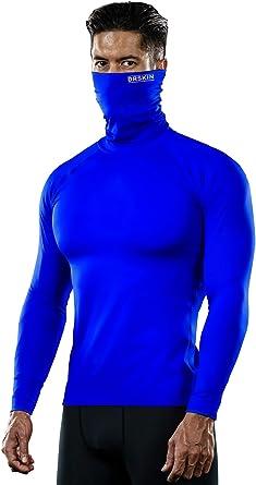 Mens Turtle neck White Long Sleeve Black Pants Set Compression Sports Base Layer
