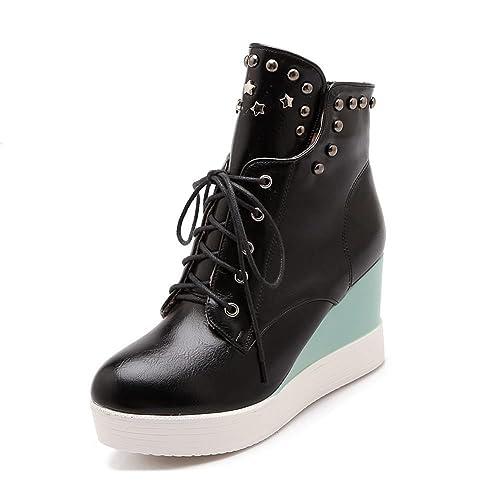 18e7fbfaa9c1 DecoStain Women s Rivet Lace Up Wedge Platform Sneaker Black
