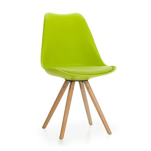 Mmilo® Tulip Star sillas de Comedor Patas de Madera con Piel ...