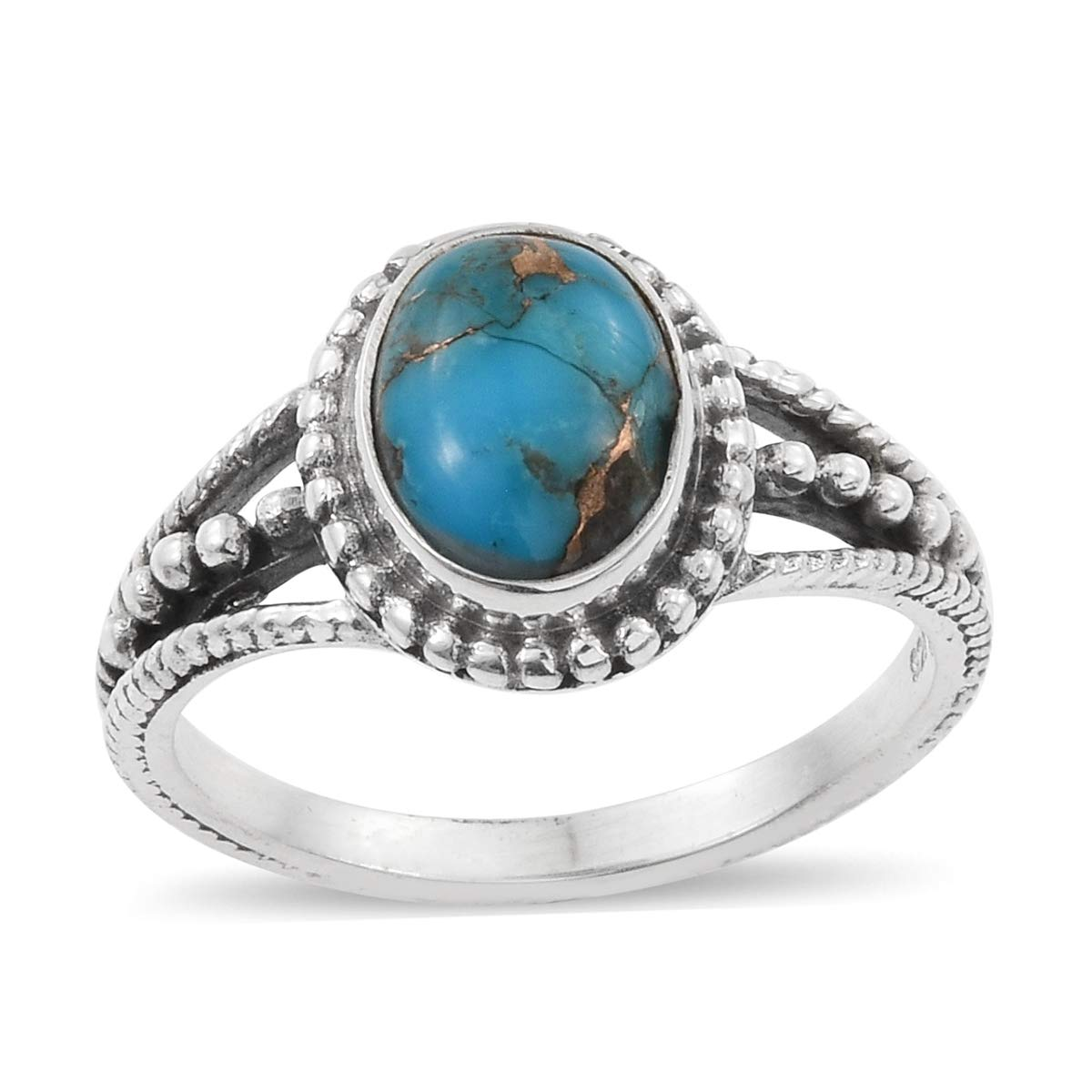 925 Sterling Silver Oval Blue Turquoise Fashion Ring for Women Size 8 Cttw 2.2
