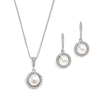 1ffa83e7c Image Unavailable. Image not available for. Color: Mariell CZ and  Freshwater Pearl Wedding Necklace and Earrings Silver Jewelry Set for  Bridesmaids & Brides