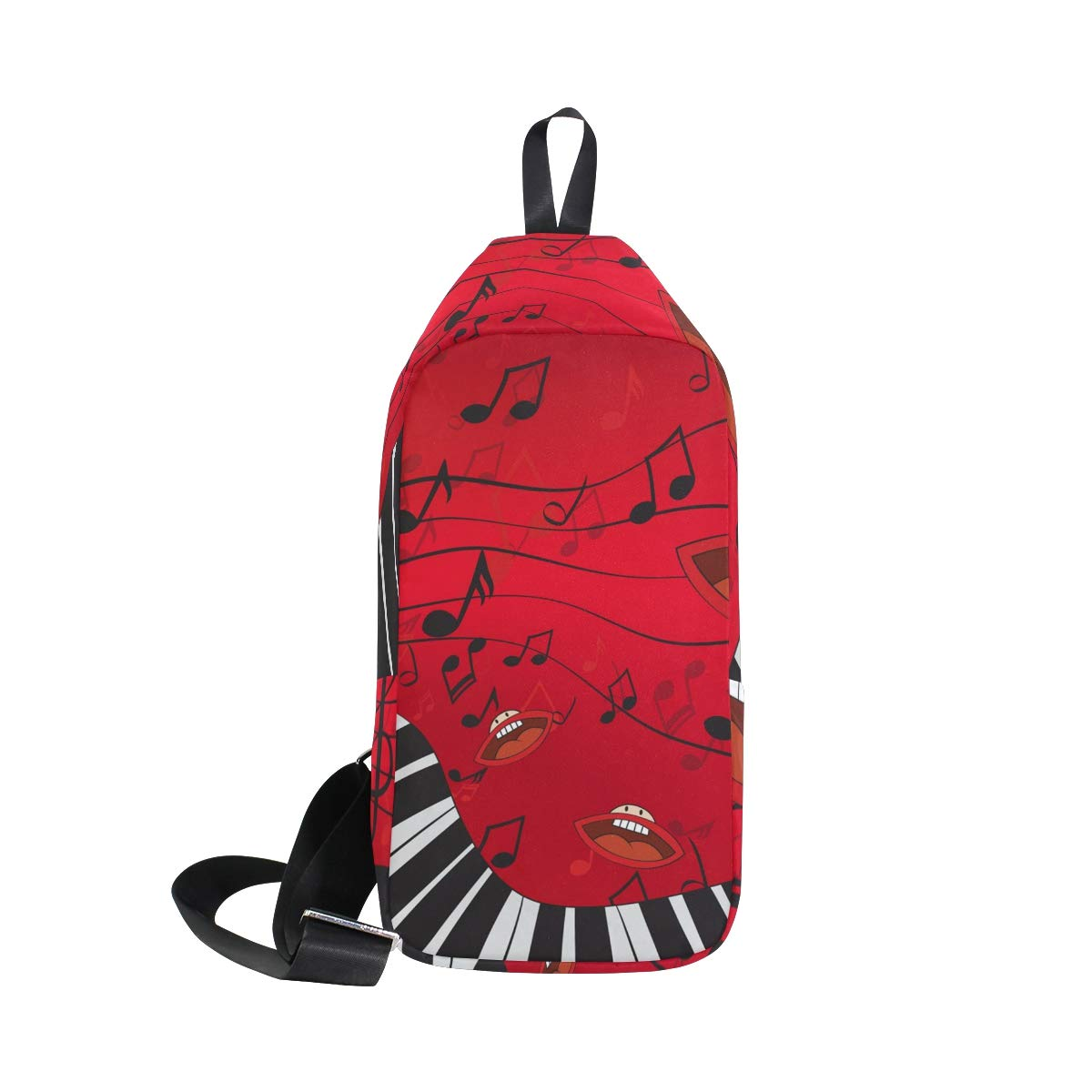 TFONE Abstract Music Piano Note Mouths Crossbody Bag Lightweight Chest Shoulder Messenger Pack Backpack Sling Bag