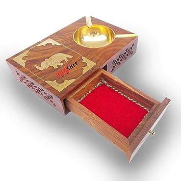 BuzyKart Wooden Ash Tray Cum Cigarette Case Drawer Big Ashtray Cum Showpiece