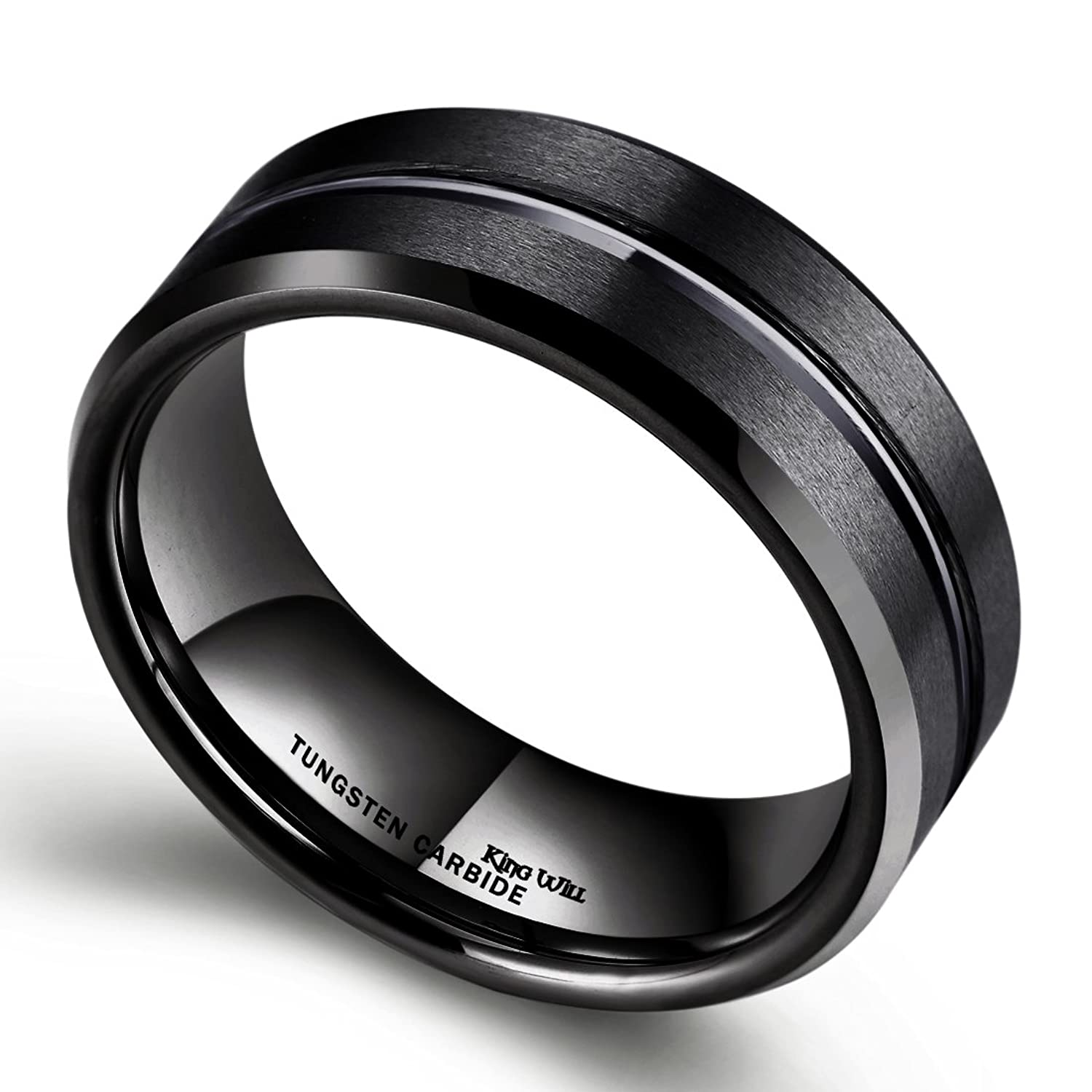 King Will CLASSIC 8mm Black Tungsten Carbide Wedding Band Ring