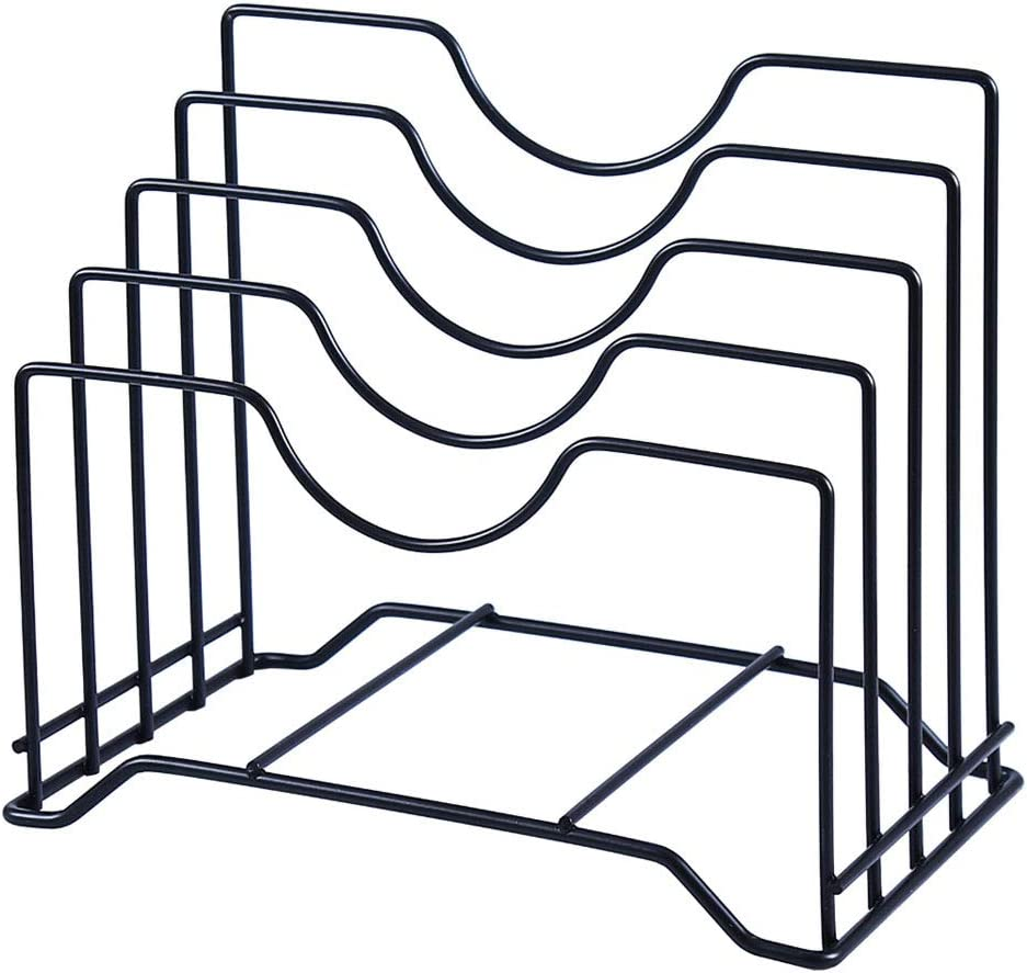 Cutting Board Holder Pot Lid Organizer Rack can hold up to 1.18 inches thick Cutting Board, Bakeware, Baking Tray, Pan, Lid and Book (Black) -