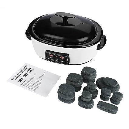 Kit de masaje de piedra caliente, 6 litros, calentador digital de piedra caliente con