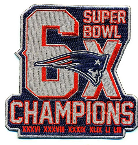 Large new england patriots 6X superbowl champions IRON ON EMBROIDERED EMBROIDERY PATCH PATCHES tom brady nfl football dynasty