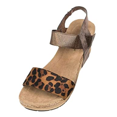 25e8200396e9 Summer Wedge Sandals Wide Width Shoes for Women Ladies Fashion Leopard Peep  Toe Strappy Leather Sandals