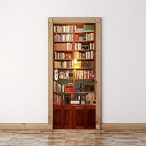Alwayspon Modern Art Bookcase 3D Door Sticker, Peel and Stick Vinyl Door Mural Decals for Home Decor, 30.3x78.7(77x200cm), 2 Pcs Set