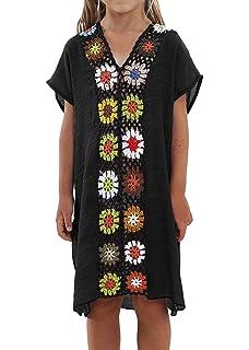 ab8961516fc69 Baonmy Kids Girls Swimsuit Beach Cover Up Tunic Top Crochet V-Neck Swim  Dress