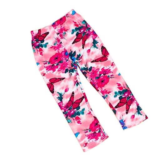 3b40fa68142d8 Wesracia Kids Baby Girls Trousers Flowers Butterfly Pattern Tight Cropped  Pants Toddler Leggings (50,