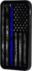 iPhone 5/5s/SE Case,BOSLIVE Old Retro Thin Blue Line American Flag Background Design TPU Slim Anti-Scratch Protective Cover Case for iPhone 5/5s/SE