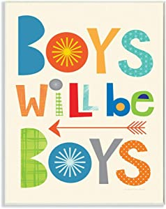 Stupell Home Décor Boys Will Be Boys Multi-Color with Arrow Wall Plaque Art, 10 x 0.5 x 15, Proudly Made in USA