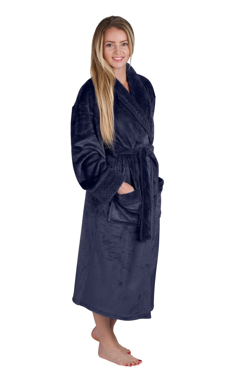 Women's 48'' Spa Style Full Length Robe with Velvet Collar & Cuffs Plus Sizes Avail. (4X, Indigo Blue)