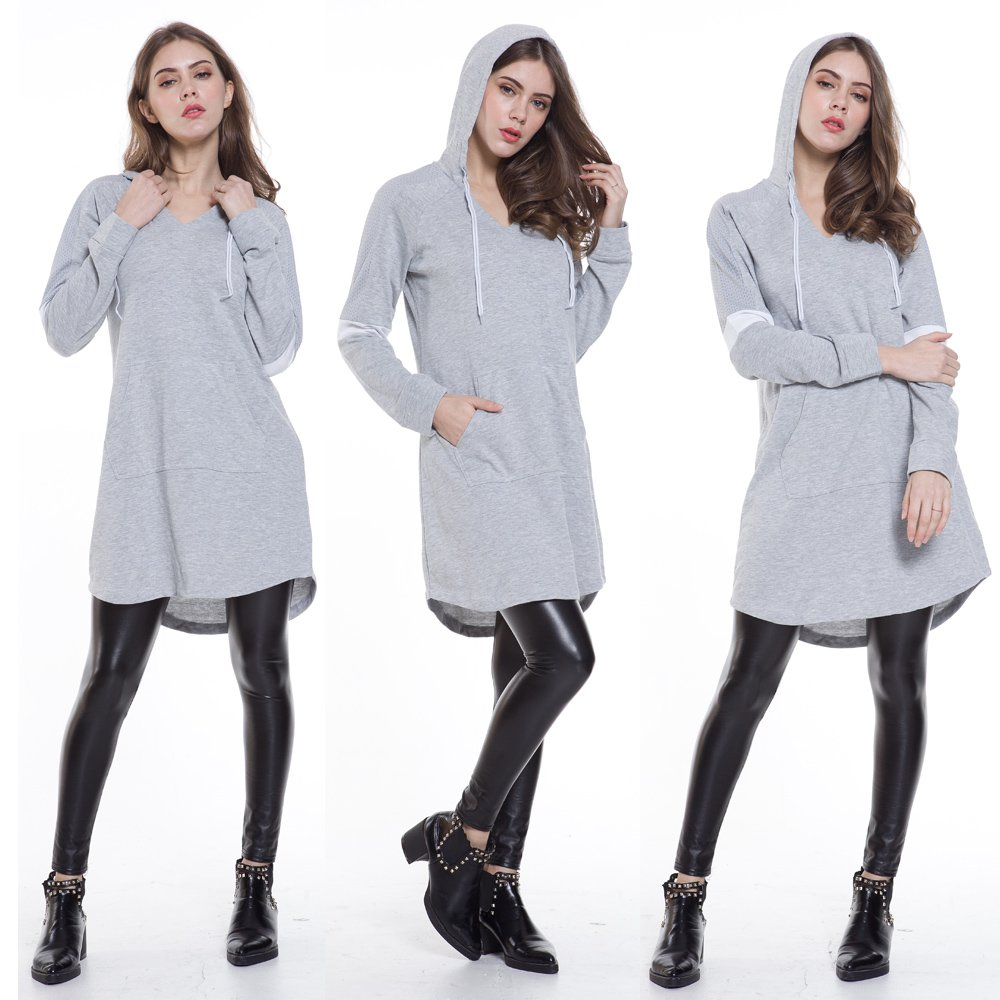 Eworldwing Spring Woman Mesh Sleeves Hoodies Dress V Neck Casual Arc Hem Cotton Sweatshirt (Gray, XXL) by Eworldwing (Image #4)