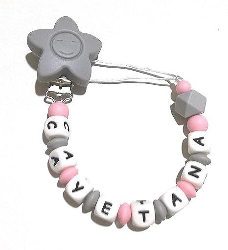 Cadena chupete silicona con nombre personalizado no tóxico chupetero de silicona gris y rosa: Amazon.es: Bebé