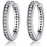 Presentski 925 Sterling Silver Circle Earrings Sleeper Hoops with Cubic Zirconia Gift for Women Girls