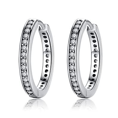 Presentski 925 Sterling Silver Circle Earrings Sleeper Hoops with Cubic Zirconia Gift for Women Girls gY0sFhaHl