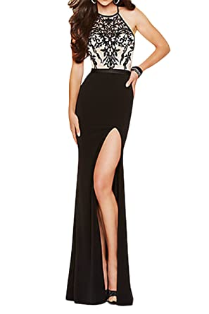 Homdor Women Split Halter Open Back Prom Dress Long Lace Sexy Red Formal Gowns