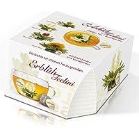 Monsterzeug Tee Geschenkset Erblüh Teelini, Weißer Tee, 8 Erblühtee Kugeln in 4 Sorten, Glas Tasse mit Deckel, Teeblume zum Trinken, Tee Geschenkbox