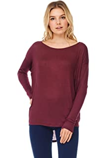 3640cff3d4 Womens Tops Modal Knit V-Neck Tunic W Dolman 3 4 Sleeves at Amazon ...