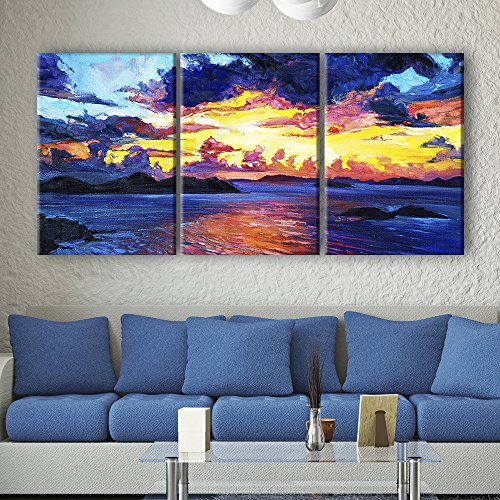 3 Panel Oil Painting Style Colorful Seascape Gallery x 3 Panels