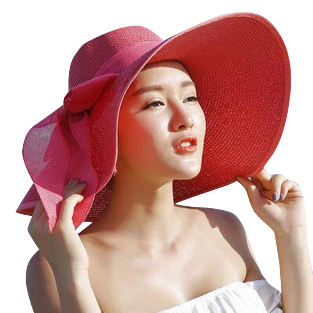 FEDULK Womens Big Bowknot Brim Straw Wide New Hat Floppy Roll up Beach Cap Sun Hat Folding Beach Cap(E, One Size)