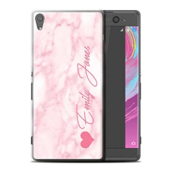 factory price c80a9 1b81e Stuff4 Personalised Custom Marble Case for Sony Xperia XA Ultra/F3212/F3216  / Pink Heart Signature Design/Initial/Name/Text DIY Cover