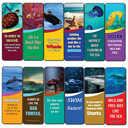 Creanoso Sea and Ocean Animals Kids Bookmarks (30-Pack) - Six Assorted Quality Bookmarker Cards Bulk Set - Premium Gift for Kids, Boys & Girls - Stocking Stuffers Gifts for Children - Fun Reading]()