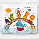 Children cute animal Tapestry home Decorative Hanging Ornaments Wall Hanging with 3D printing art polyester fabric 80W X 60L Inches (3)