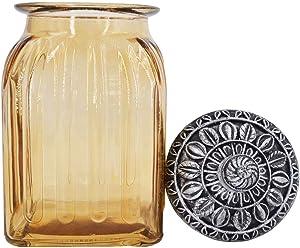 SOCOSY Vintage Crystal Glass Candy Jar with Lid Food Jar Nut Jar Jewelry Box Wedding Candy Buffet Jars Kitchen Storage Assorted Color 30 oz