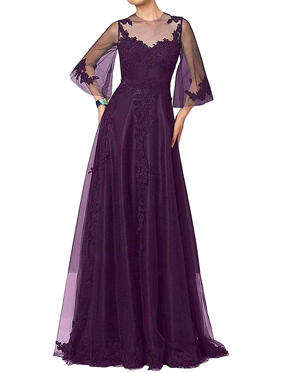 Grape H.S.D Mother of The Bride Dress Aline Mother Dresses Long Prom Evening Gowns Sleeve
